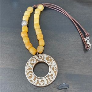 Silpada yellow jade, sterling & leather necklace